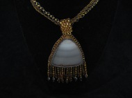 Large Fringed Cabochon with Two Flat Chains